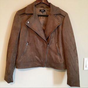 Premise Studio Faux Suede Brown Moto Jacket Medium